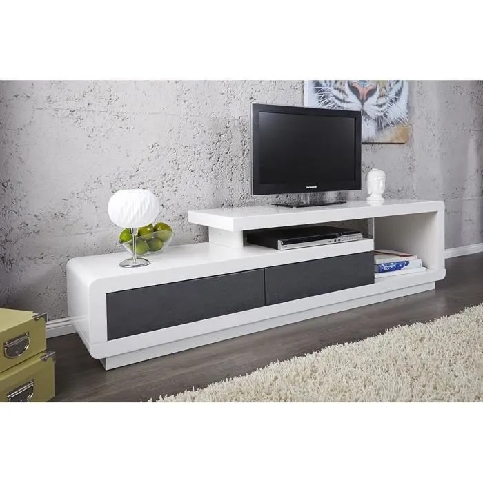 meuble tv meuble de salon marvin blanc gris laque