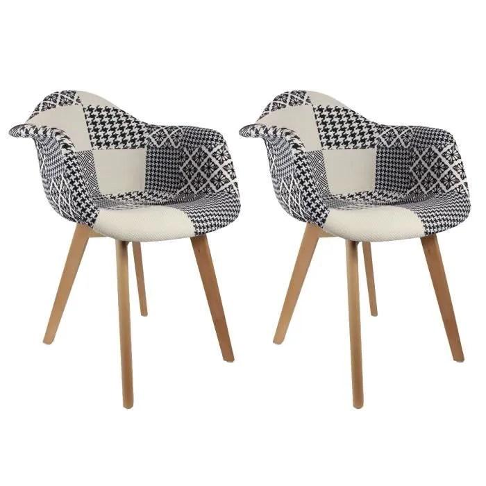 fauteuil lot de 2 fauteuils scandinaves patchwork noir et b