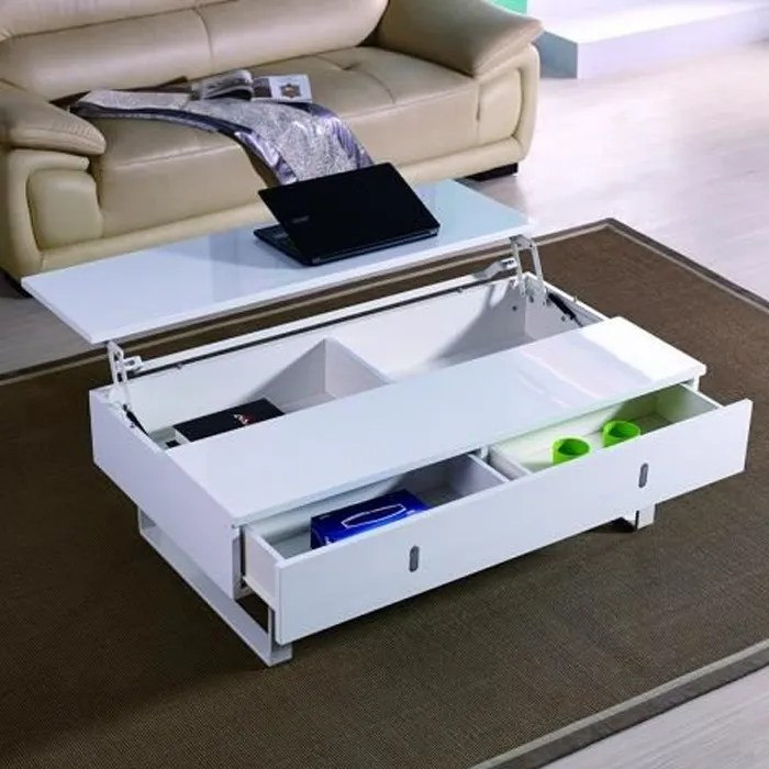 table basse relevable laque blanc mutifonction easy