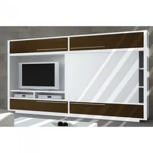 meuble tv bibliotheque domino avec porte coulis