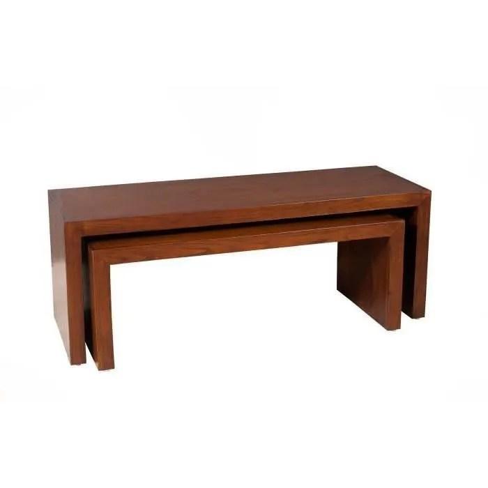 madrid table basse gigogne style contemporain en mindi et contreplaque l 120 x 40 cm