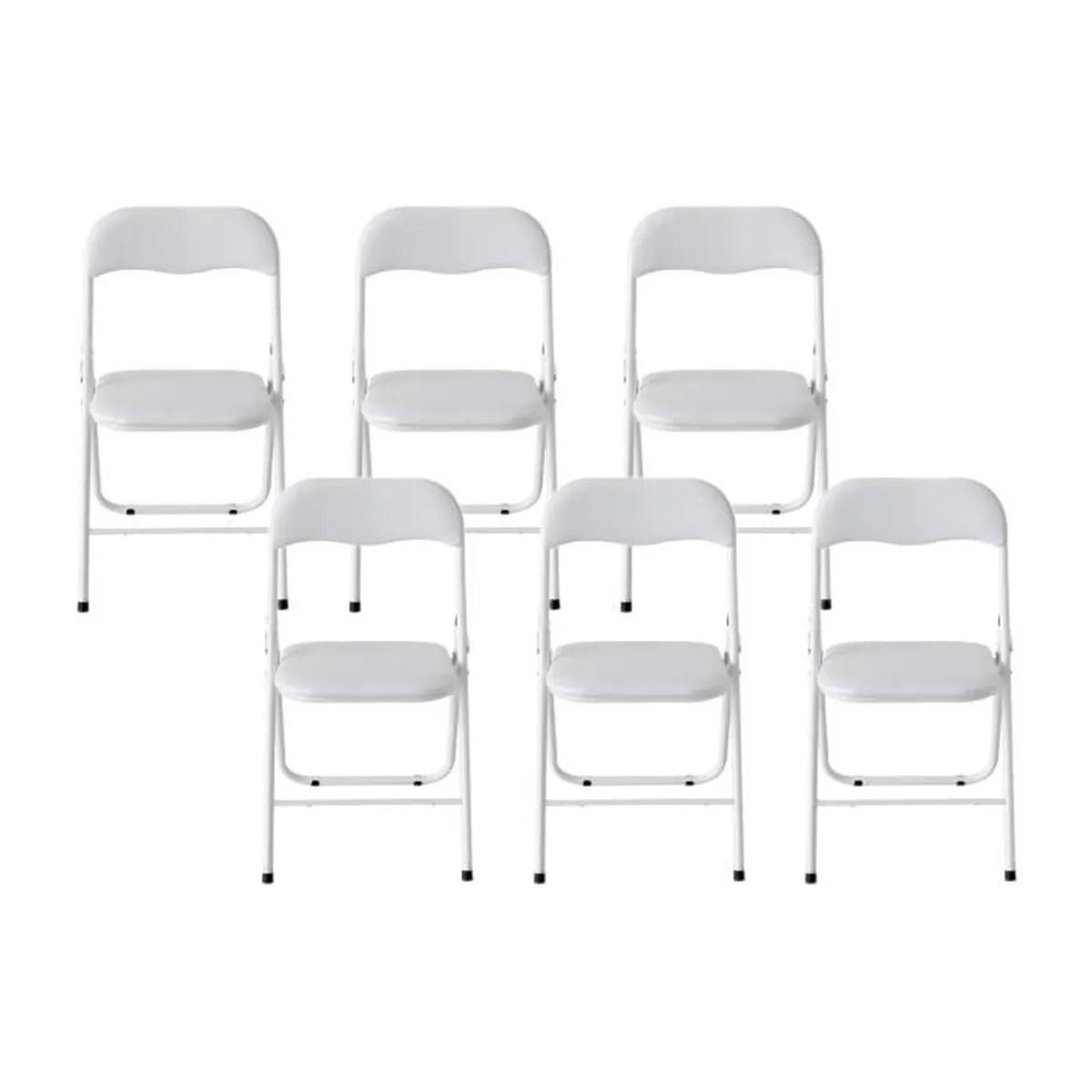 thin lot de 6 chaises pliantes blanc