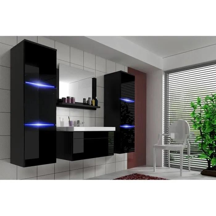 salle de bain complete luna noir facade laquee brillante high gloss led vasque en ceramique miroir meuble design suspendu