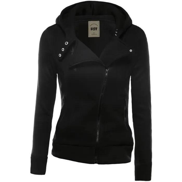 Femme Veste Avec Capuche Zipped Jacket Noir Noir Achat
