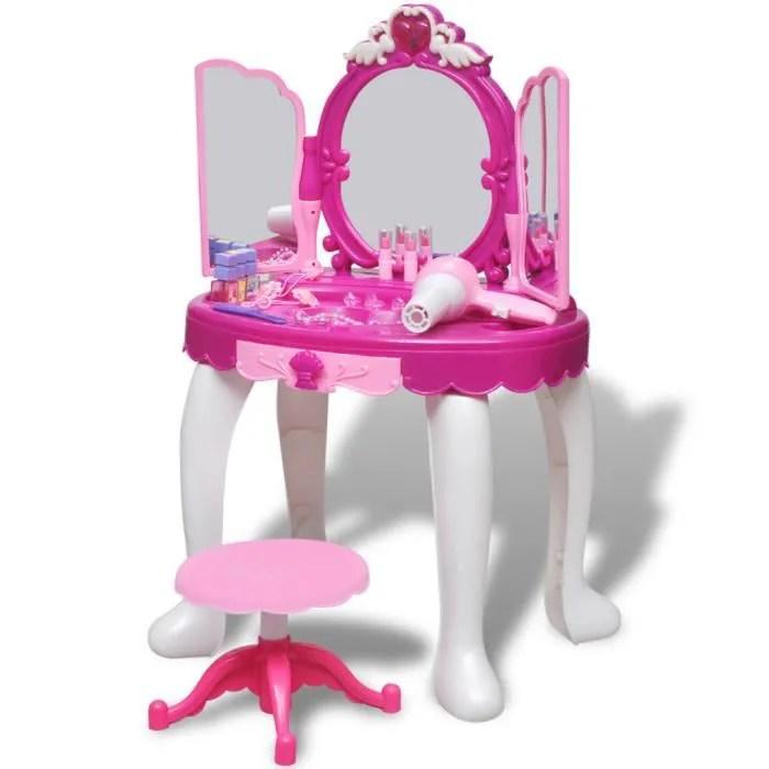 coiffeuse de jouet avec lumiere son et 3 miroirs pour enfants