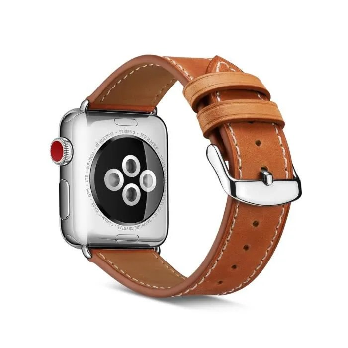 bracelet apple watch 42mm cuir marron