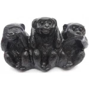 objet decoratif 3 singes noirs sagesse bonheur