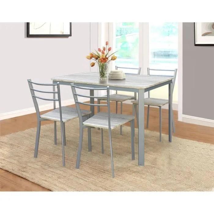 table de cuisine et salle a manger 4 chaises athenes gris et sonoma ensemble repas design metal et bois