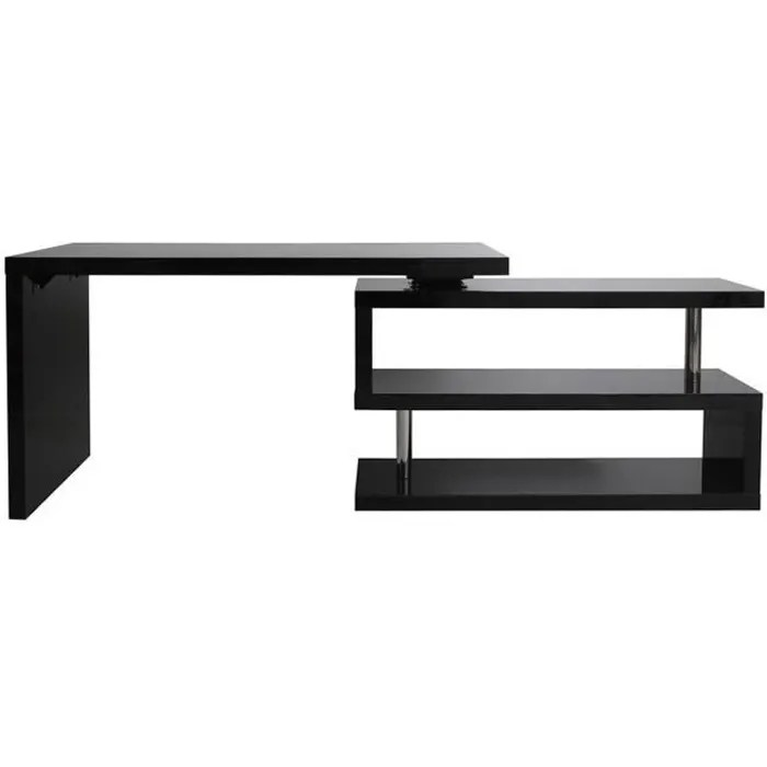 bureau design noir laque amovible max
