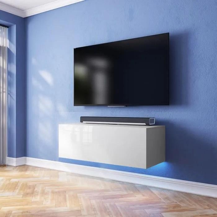 Meuble TV Lana Avec LED Bleue Blanc Matblanc Brillant