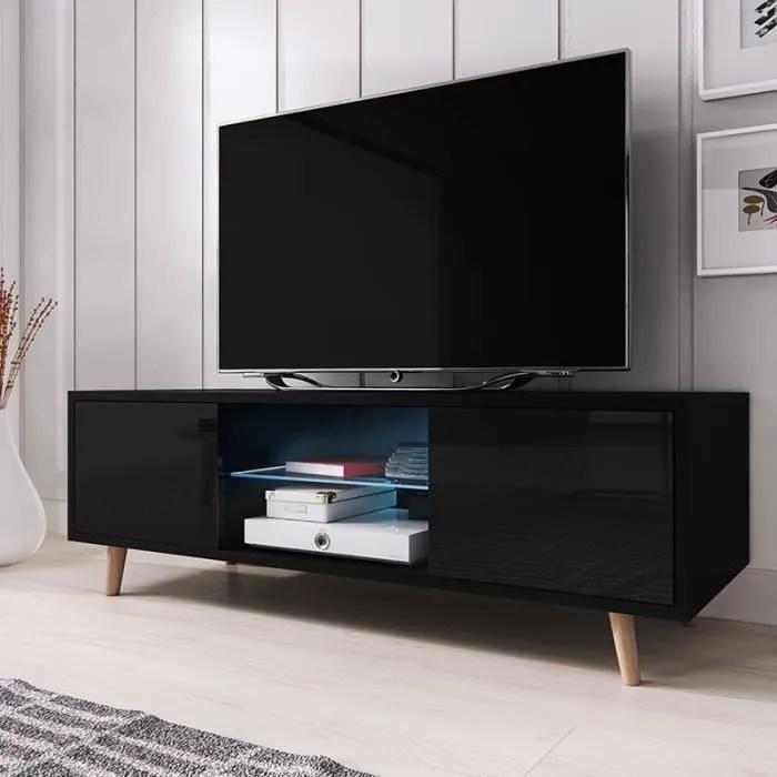 Meuble TV Meuble De Salon RIVANO 140 Cm Noir Mat