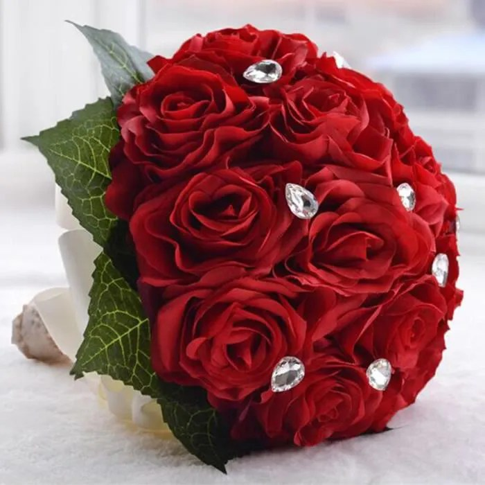 ROUGE 2725cm Bouquet De Mariage Boule De Rose Artificiel
