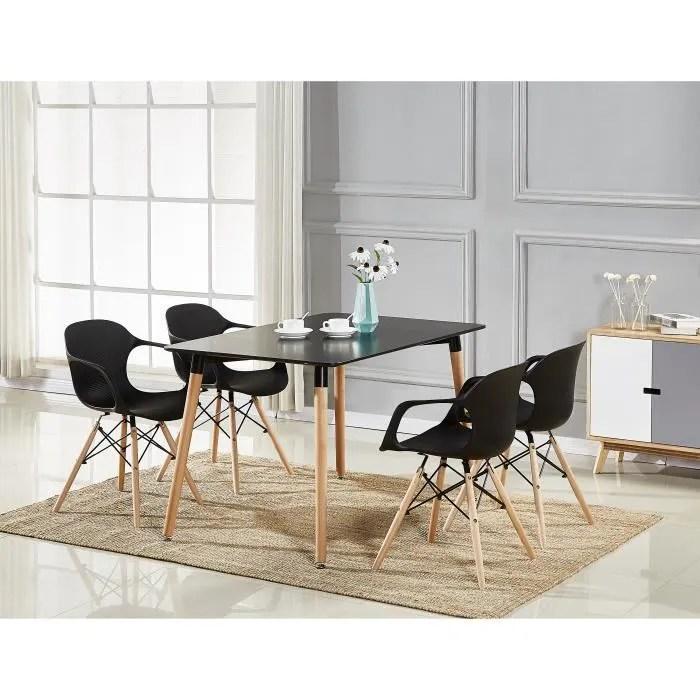 table a manger noire 4 chaises modernes noires salle a manger salon cuisine design contemporain alecia halo