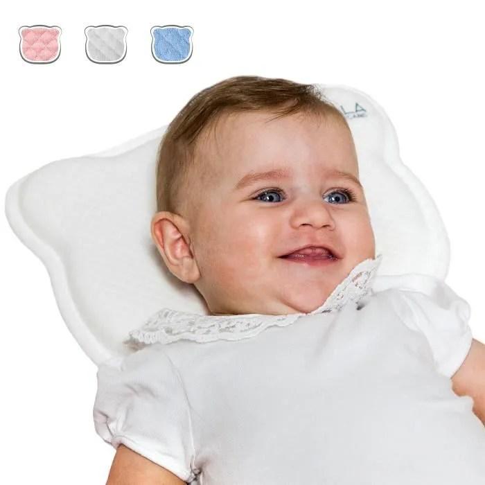coussin bebe par la plagiocephalie avec deux housses de protection detachables et traitement de la tete plate a memoire de form