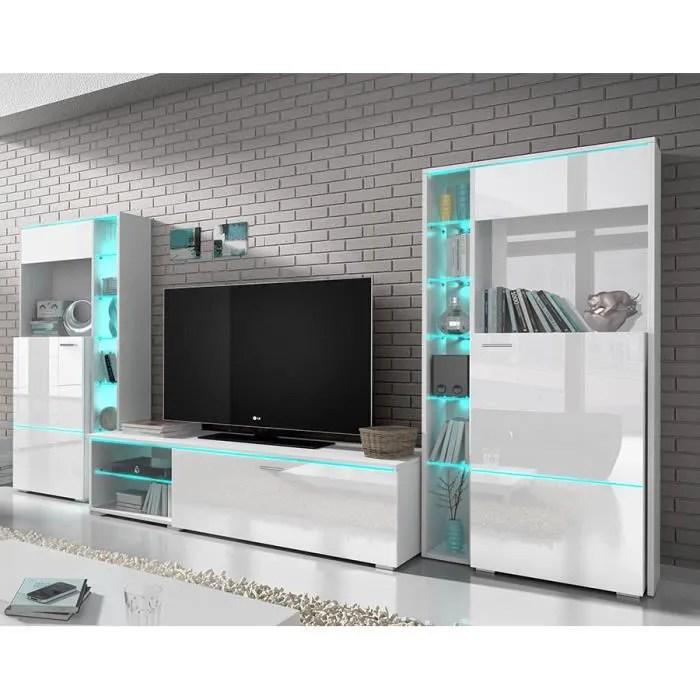 Ensemble Meuble TV Blanc Laqu Design DOLORES Sans LED