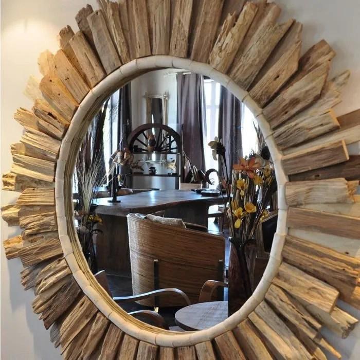 Miroir Soleil En Bois Flott 100 Cm Achat Vente Miroir