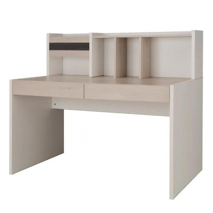 bureau 2 tiroirs surmeuble eden l 135 x l 60 x h 114 cm