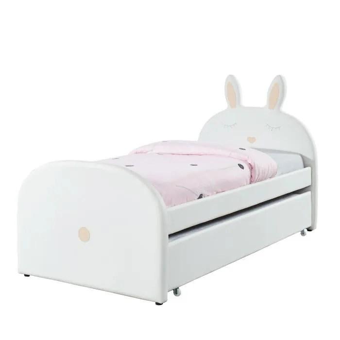bunny lit gigogne enfant lapin style junior simili blanc sommier inclus l 90 x l 190 cm