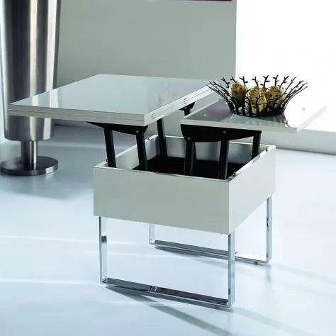 table basse multifonction laque blanche relevable