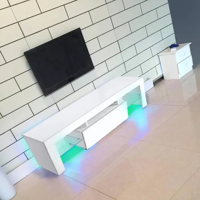 meuble tv meuble hi fi avec led table de tv table de television support de divertissement decor masion avec telecommande