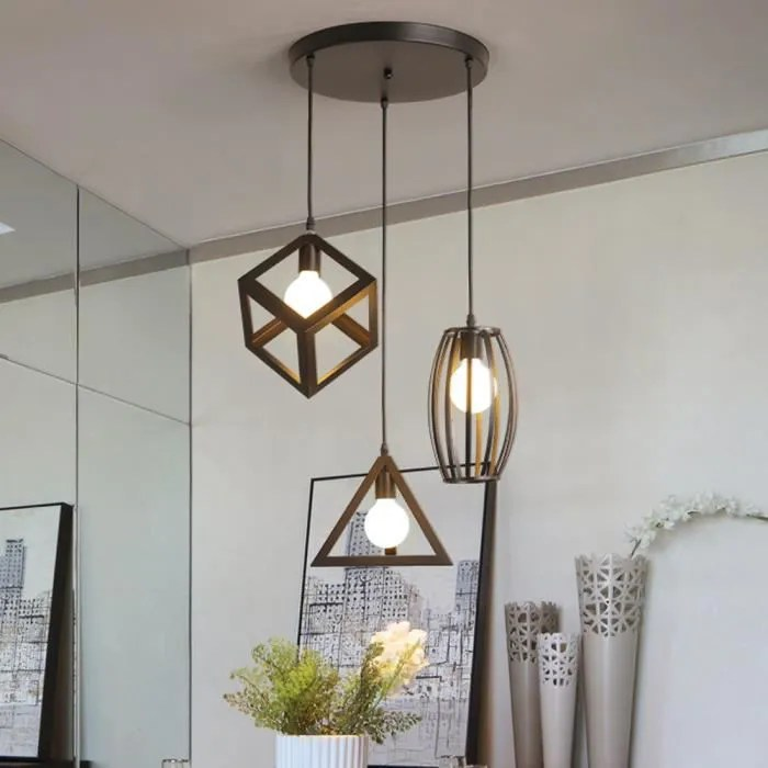 suspension industrielle retro cage en 3 forme differentes lustre abat jour vintage e27 luminaire e27 noir pour restaurant terrasse