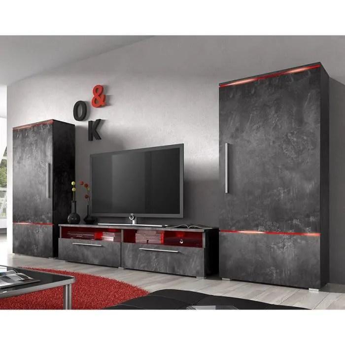 Ensemble Meuble TV Couleur Effet Bton Cir Design CANON 3