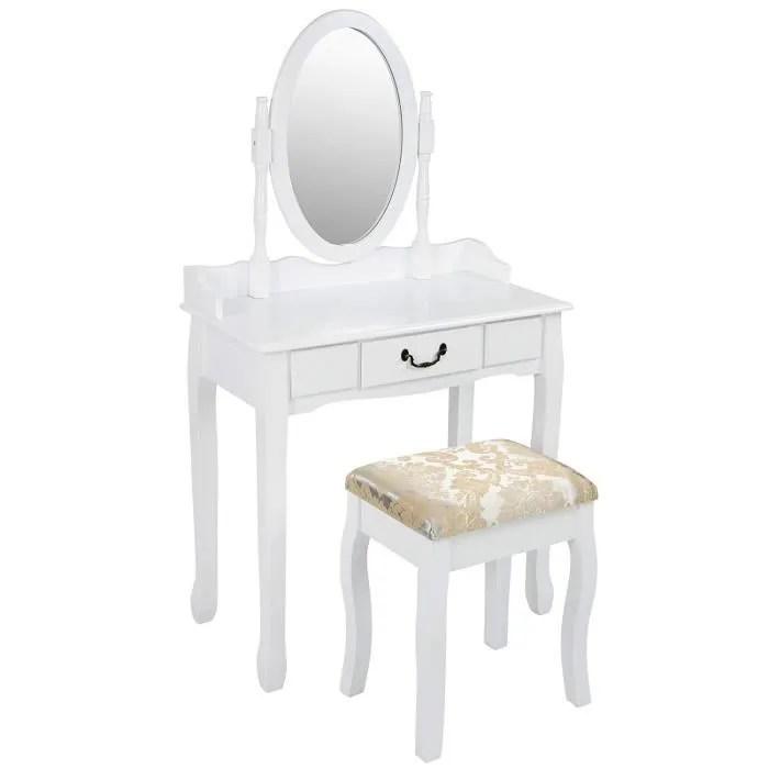 coiffeuse coiffeuse vanity bureau avec tirroir miroir ovale