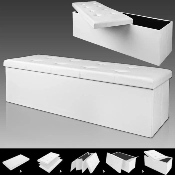 Banc Pliable Avec Rangement 114x40x40cm Blanc Achat