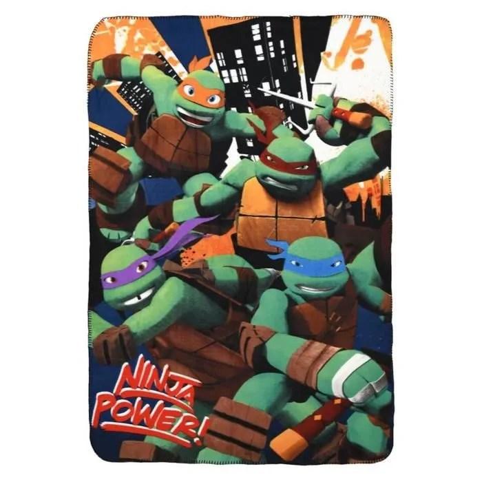 plaid polaire enfant garcon tortues ninja noir 120x140cm aille unique