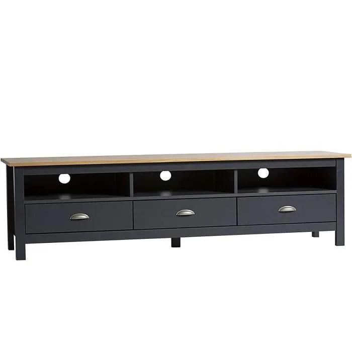 vs meuble tv bora bora 3 tiroirs gris anthracite