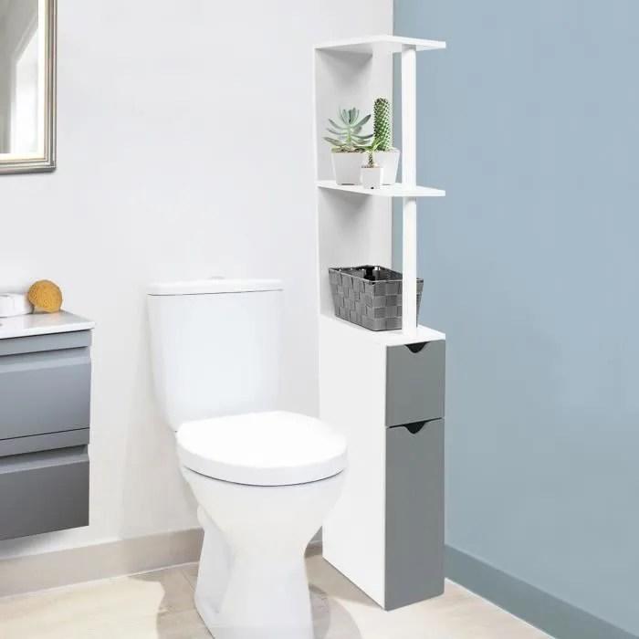 Meuble WC Tagre Bois Gain De Place Pour Toilette Porte
