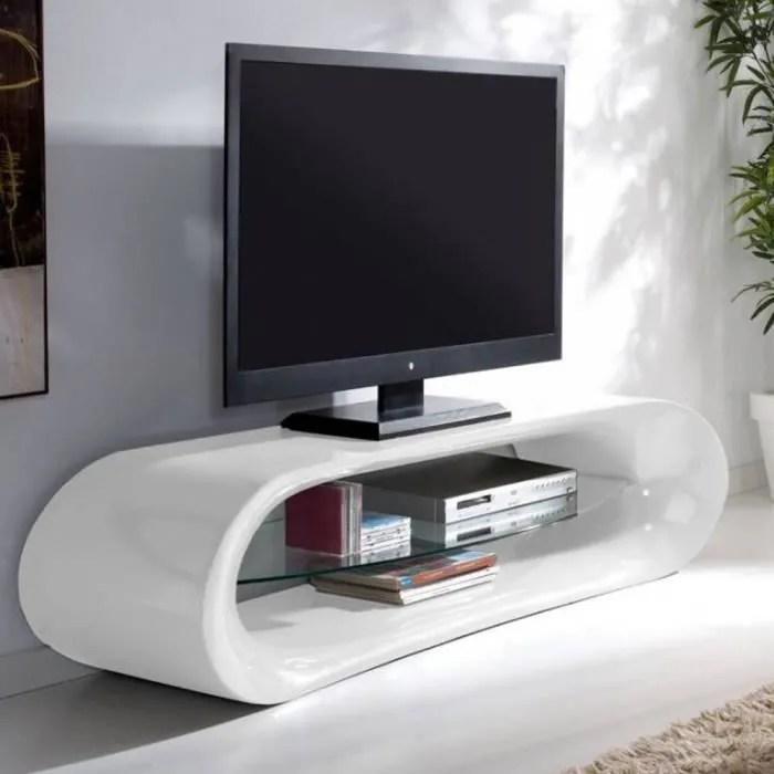 Meuble TV Design KANA En Fibre De Verre Blanc Achat
