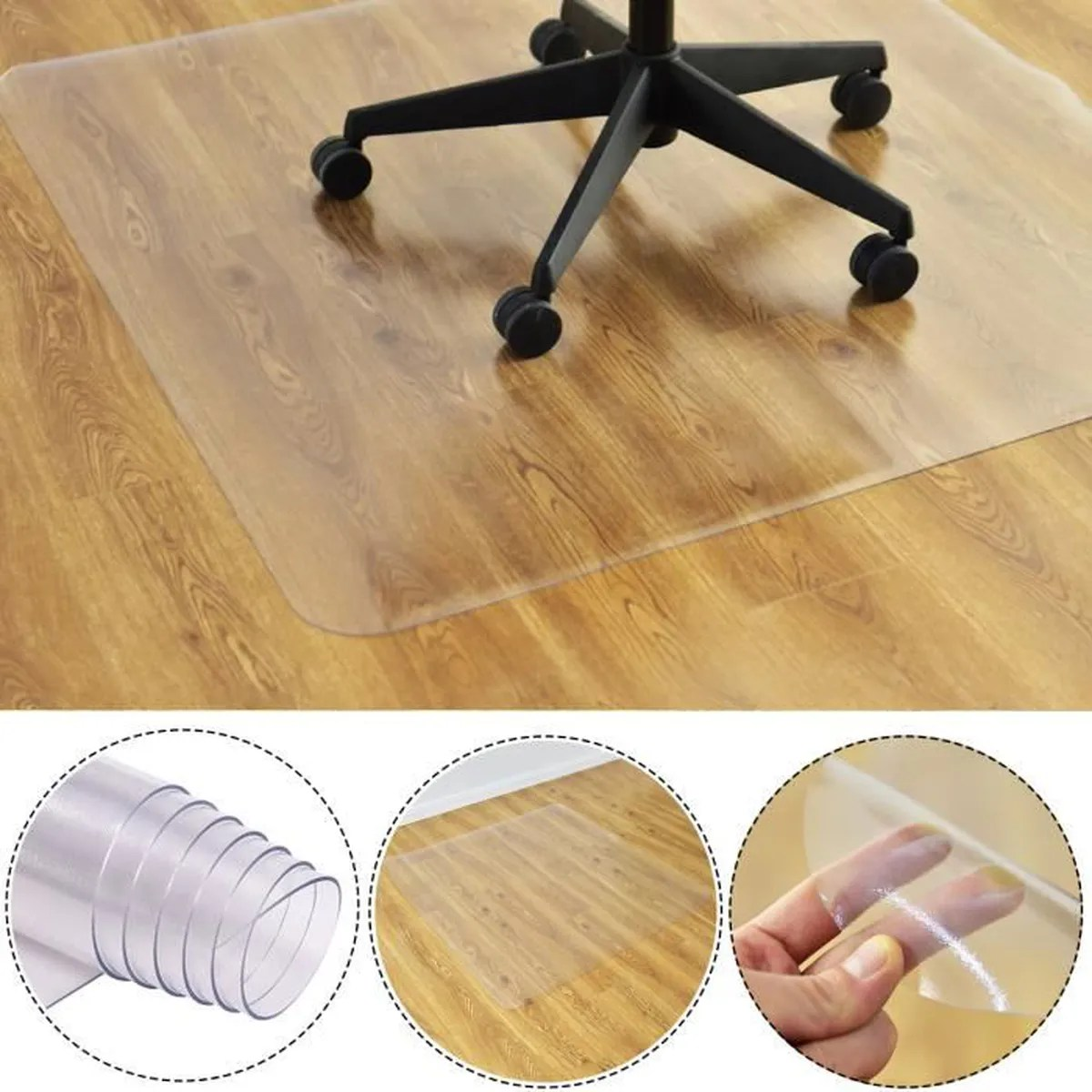 tapis de protection sol pour chaise fauteuil de bureau tapis de sol pvc 150x120cm