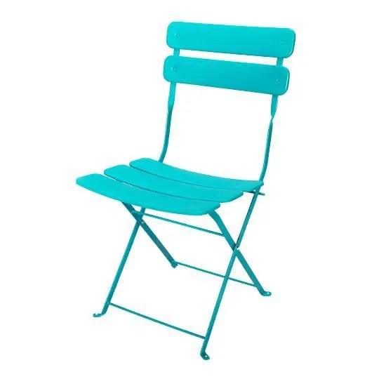 Chaise De Jardin Pliante Bistrot Bleue Turquoise Achat