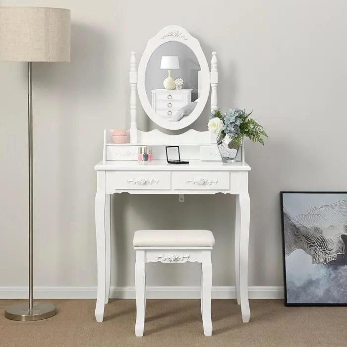 set coiffeuse blanche miroir et tabouret 4 tiroirs