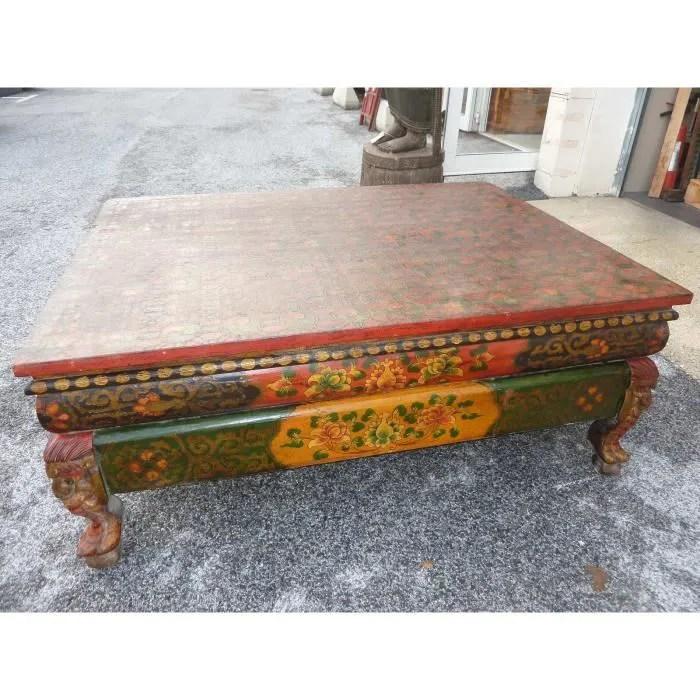 large table basse tibetaine peinte main