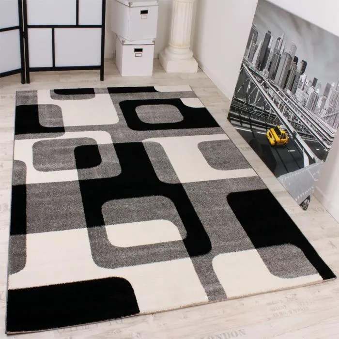 grand court velours tapis en noir blanc