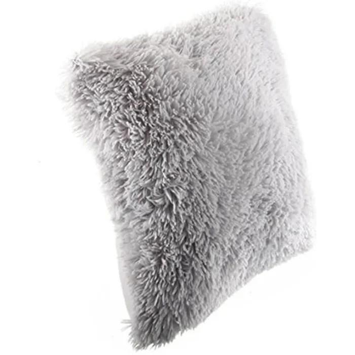 coussin imitation fourrure poil long gris 40 x