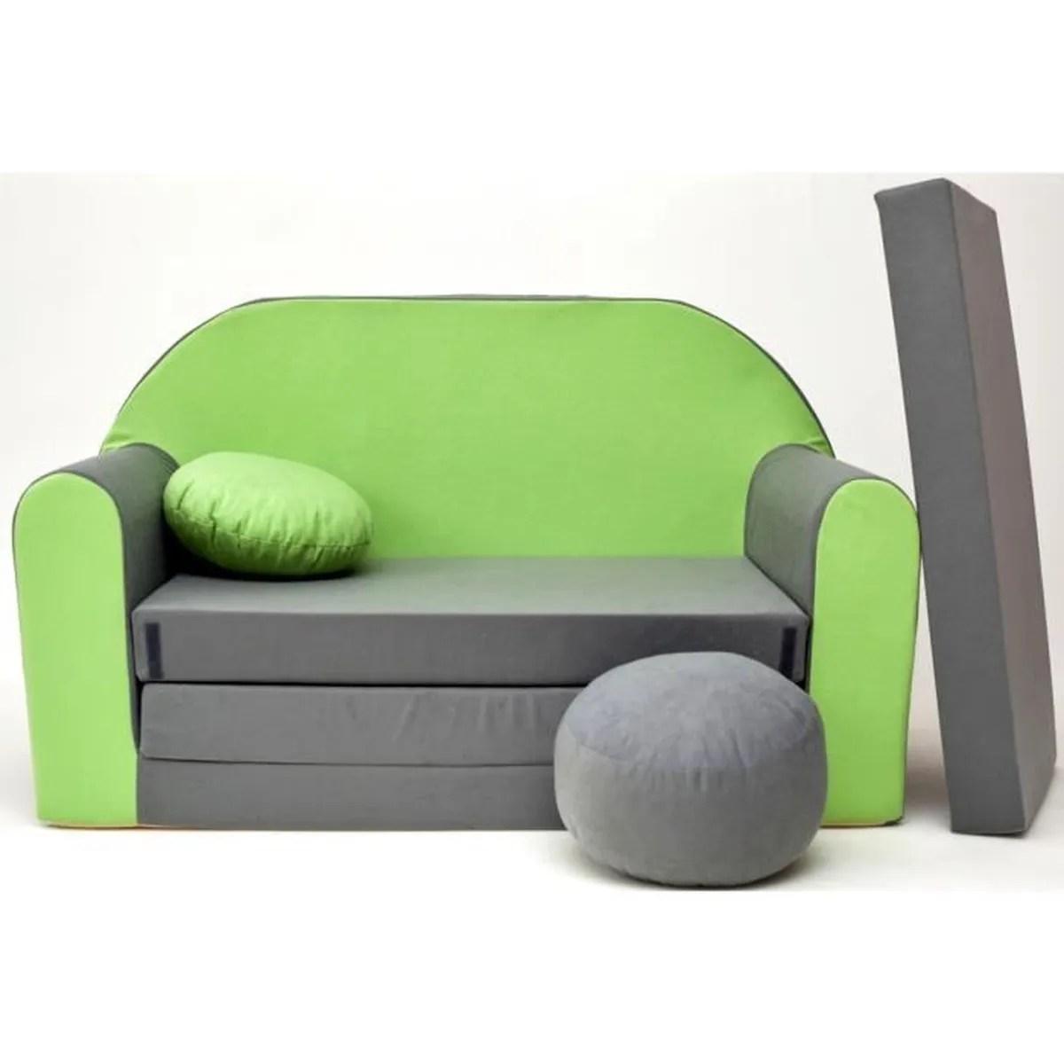 Canape Sofa Enfant 2 Places Convertible Gris Vert Achat