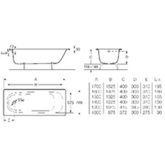 roca baignoire contesa 170x70cm blanc en acier emaille epaisseur 1 5mm bord plat non percee avec pieds metal a visser fon