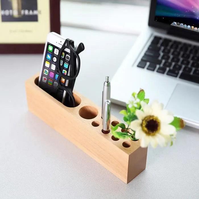 bureau support de telephone portable en bois stockage stylo papeterie de bureau