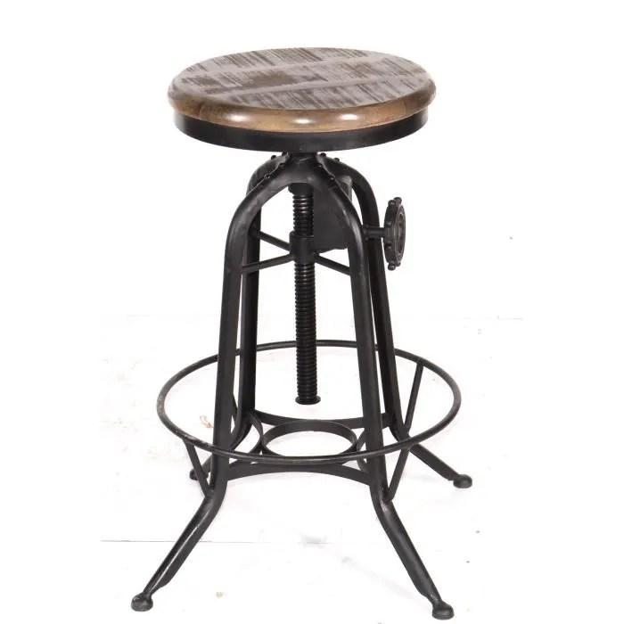 tabouret de bar tabouret reglable de bar metal et bois industriel