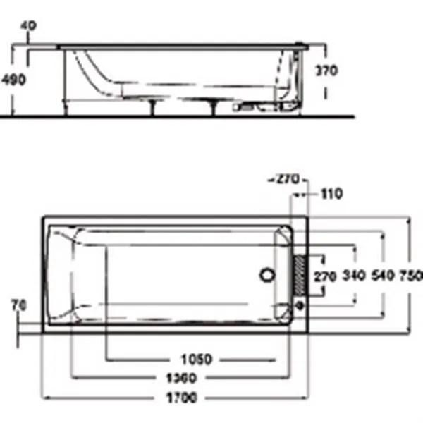 Ideal Standard Baignoire CONNECT 170x75cm En Acrylique