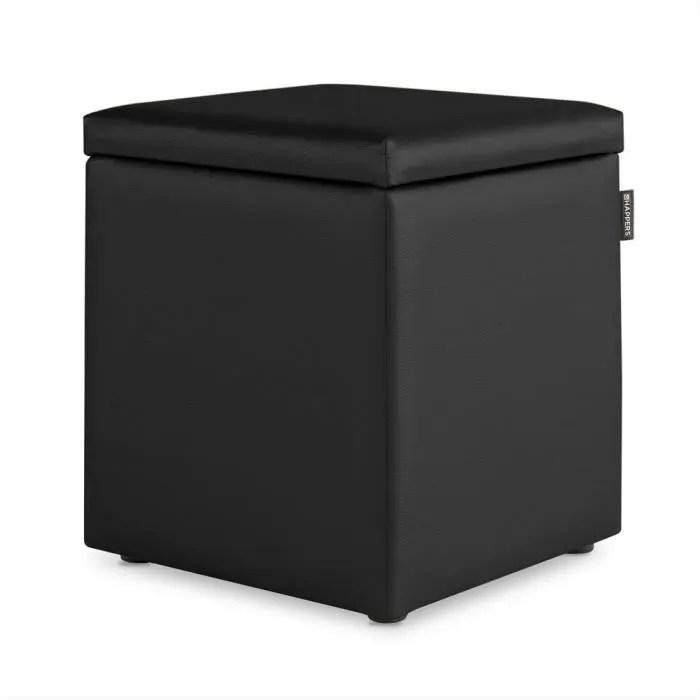 happers pouf avec coffre cuir artificiel interieur noir