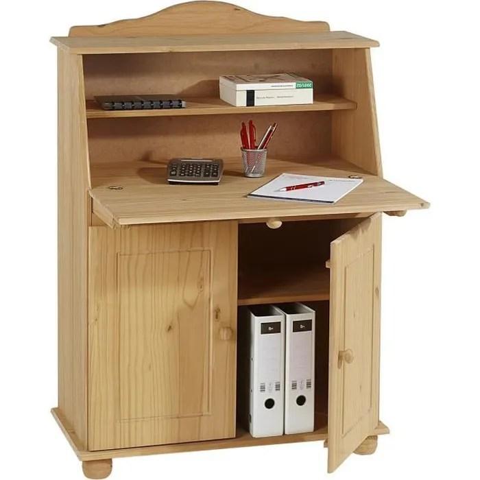 bureau secretaire david rangement avec abattant etageres et 2 portes en pin massif finition ciree teintee
