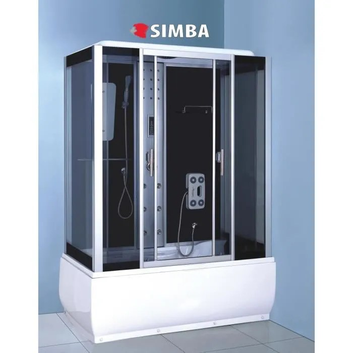 cabine de douche hydromassante spa bain massage 150 x 83 cm verre de sec sicily comme dans la photo 100 robinetterie inclus garan