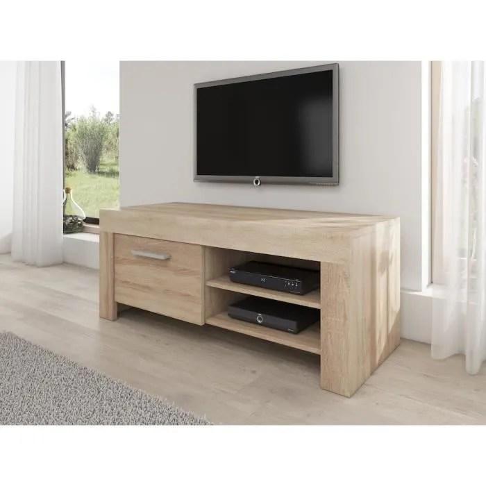 rome meuble tv contemporain decor chene clair 120 cm