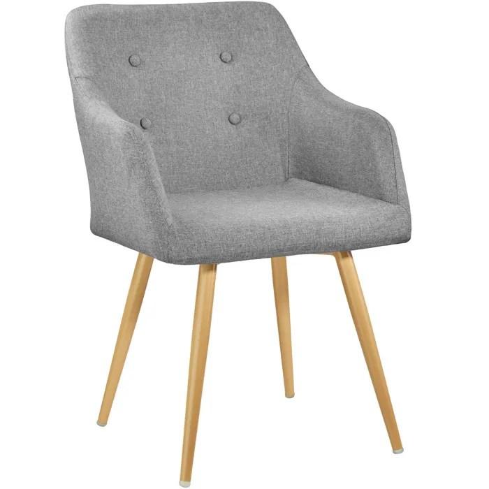 tectake chaise de salle a manger confort fauteuil de salon rembourre au design scandinave 55 cm x 54 cm x 82 5 cm gris