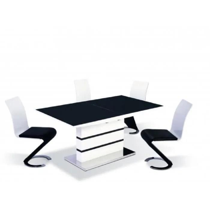 Table Manger Design Laqu Noir Blanc Achat Vente
