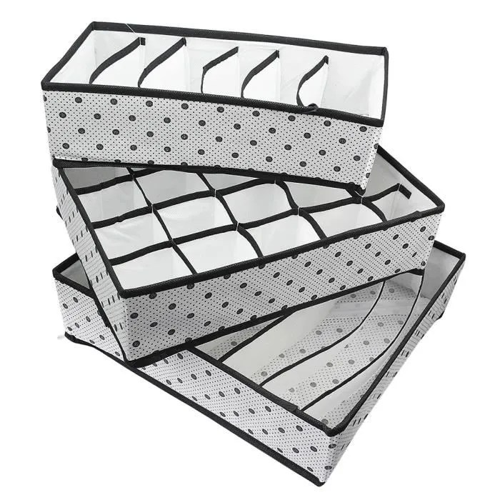 3x boite rangement pour sous vetement pliable sans couvercle linge sous vetements cravates ceinture